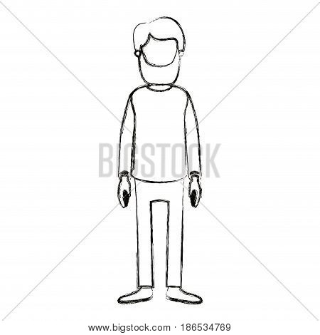 blurred silhouette cartoon full body faceless man with beard and moustache with clothing vector illustration