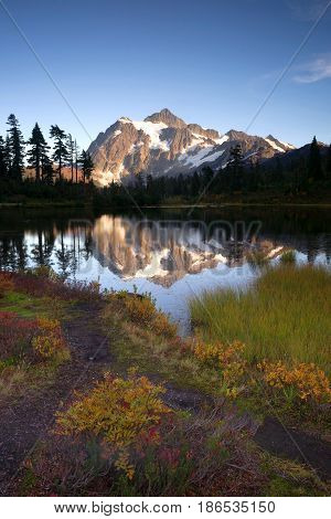Light hits Mt Shuksan well at sunset above picture lake