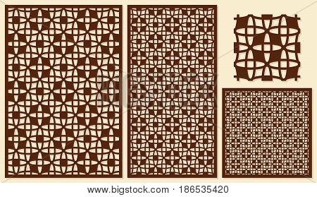 Set of decorative panels laser cutting. Repeated geometric pattern. The ratio of 2: 3, 1: 2, 1: 1. Vector illustration.