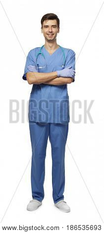 Handsome young doctor on white background