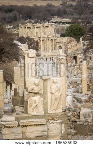 15TH FEBRUARY 2017, EPHESUS, TURKEY - View from above of the Celsus Library and Curetes Street in the ancient city of Ephesus in Selcuk Turkey