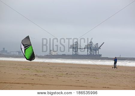 kite mountain boarder on Aberavon beach, Wales