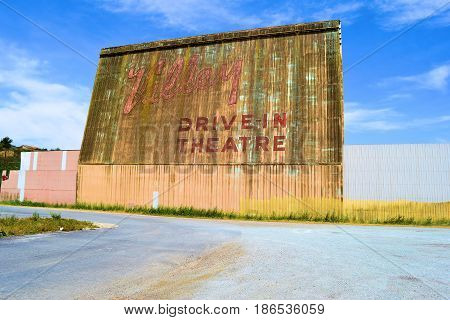 April 28, 2017 in Lompoc, CA:  Historic abandoned Valley Drive In Theatre which closed in 2002 and where locals now use this abandoned property as a haunted structure during Halloween taken in Lompoc, CA