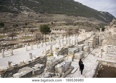 15TH FEBRUARY 2017, EPHESUS, TURKEY - Landscape view of the ancient city of Ephesus in Selcuk Turkey with tourists walking