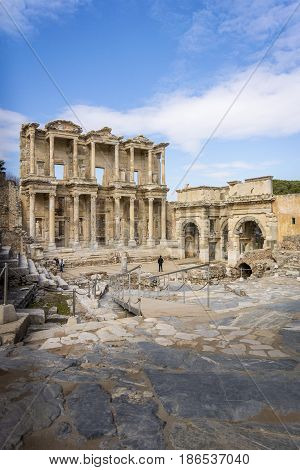 27TH FEBRUARY 2017 - Celsus Library in the ancient city of Ephesus in Selcuk Turkey