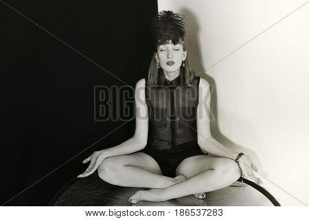 A Girl Dressed In Retro Headdress