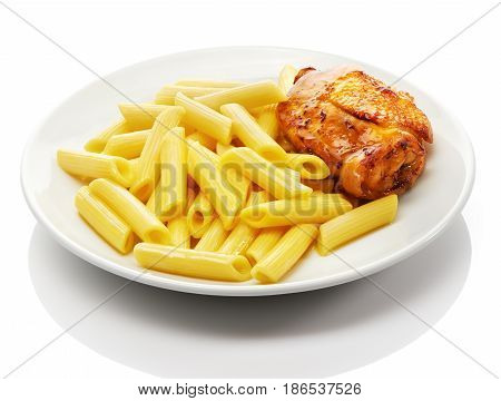 Cooked penne rigate pasta and roasted chicken thigh on white ceramic plate isolated on white background
