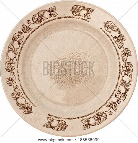 old faience plate with cracks and floral ornament in a circle