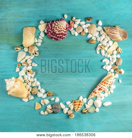 An overhead photo of sea shells and pebbles, forming a frame on a vibrant turquoise background, with a place for text inside. A square design template for a summer vacation banner