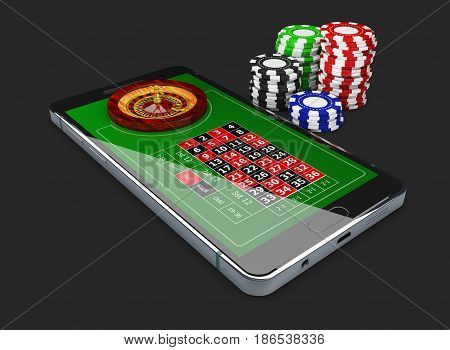 Online Games Web With Phone Casino Roulette Wheel Isolated On Black. Online Play Concept. 3D Illustr
