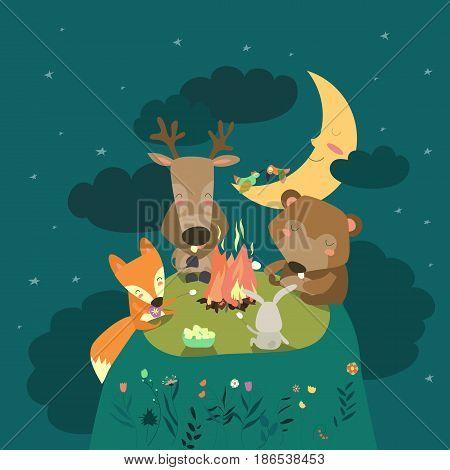 Cute animals resting around bonfire. Vector illustration