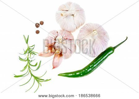 Composition With Garlic And Spices Isolated On White Background.
