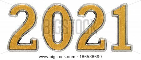 2021 Inscription, Isolated On White Background, 3D Render