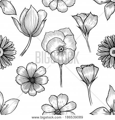 Vintage floral seamless pattern with hand drawn flowers