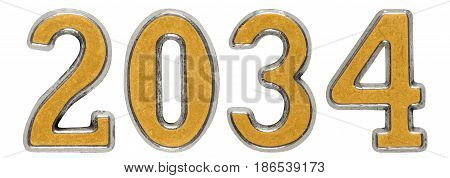 2034 Inscription, Isolated On White Background, 3D Render