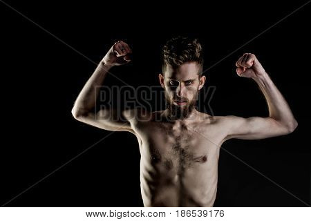 slim man. handsome bearded man or hipster guy dieting with serious face and bare slim or thin body chest and torso with anorexia isolated on black background