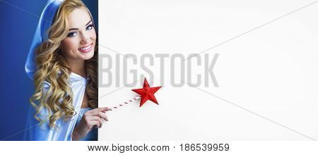 Fairy woman with magic wand with star pointing at white background with copy space