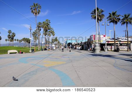March 2 2017. Venice california. The many shops and stands on the Venice Beach Boardwalk in sunny california.