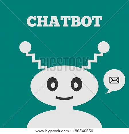 Friendly robot with a smiling face. Icon speech bubble with message. Text Chatbot. Vector illustration. Grey blue black.