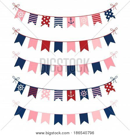 Cute nautical buntings in red blue and pink colors for birthday parties scrapbooking and invitations for kids