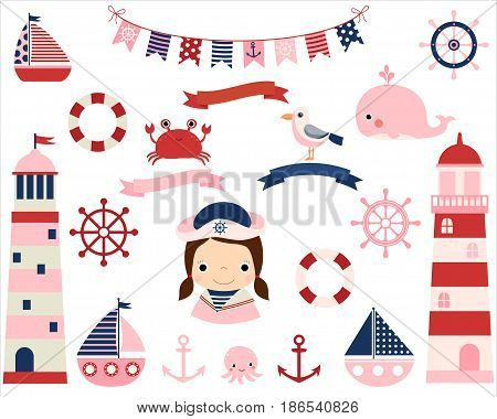 Pink girl nautical vector set with lighthouses boats and other sea themed elements