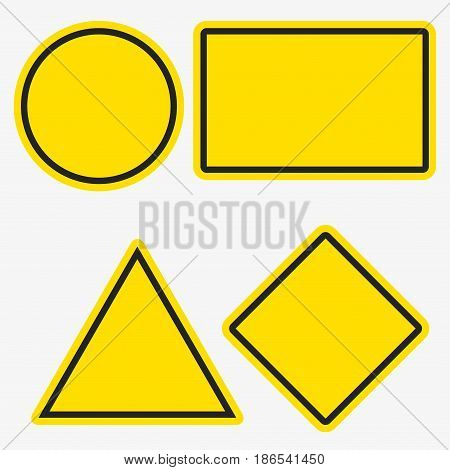 Empty warning sign templates set. Triangle square or rhombus round and rectangle shapes. Yellow orange color with black frame