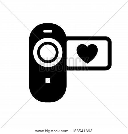 Video camera. Black icon isolated on white background