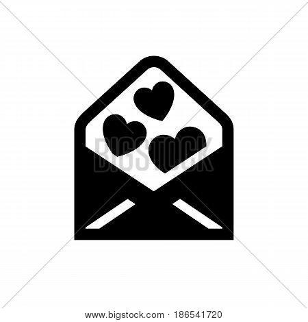 envelope. Black icon isolated on white background