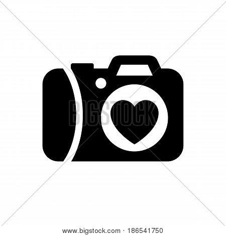 Photo camera. Black icon isolated on white background