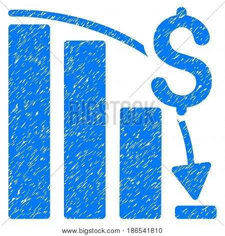 Grunge Financial Crisis icon with grunge design and dust texture. Unclean vector blue pictogram for rubber seal stamp imitations and watermarks. Draft sticker symbol.