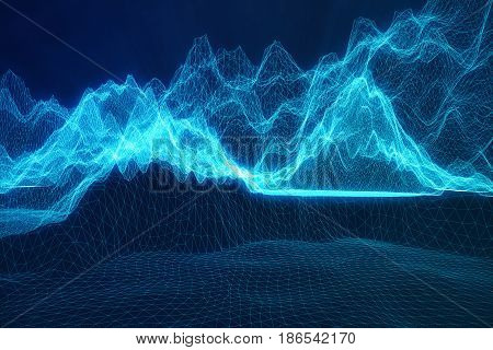 3D illustration abstract digital wireframe landscape. Cyberspace landscape grid. 3d technology. Abstract internet connection in cloud computing, communications network blue landscape.