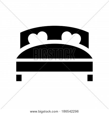 Bed. Black icon isolated on white background