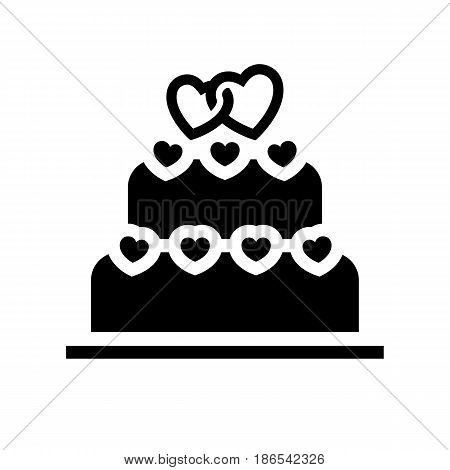 Wedding cake. Black icon isolated on white background