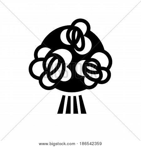 Flowers. Black icon isolated on white background