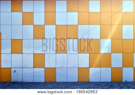 The Texture Of The Metal Wall, Framed In The Form Of Colored Squares Of Two Colors. Modern Wall Desi