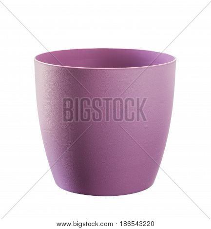 Purple flowerpot isolated on white. Path included