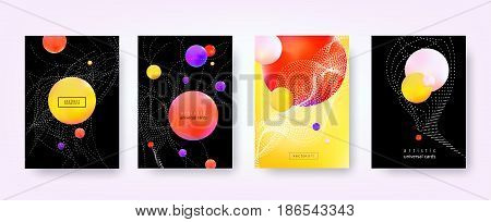 Abstract vector backgrounds. Trendy hipster style with blurry fluid. 3d shapes, tangled lines, dots. Template A4 for design posters, banners, flyers, covers, placards, magazines, books