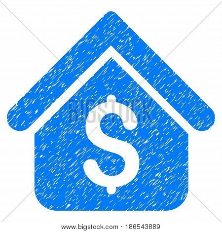 Grunge Loan Mortgage icon with grunge design and scratched texture. Unclean vector blue pictogram for rubber seal stamp imitations and watermarks. Draft emblem symbol.