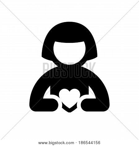 Woman. Black icon isolated on white background