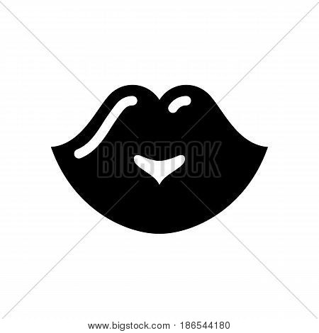 Lips. Black icon isolated on white background