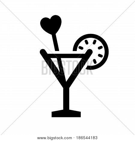 Love drink. Black icon isolated on white background