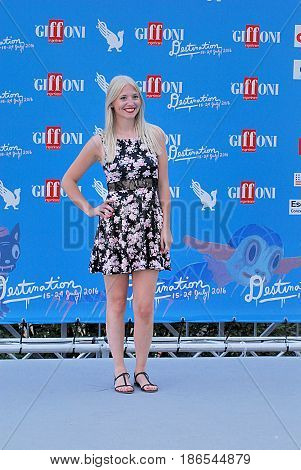 Giffoni Valle Piana Sa Italy - July 23 2016 : Martina Rodini at Giffoni Film Festival 2016 - on July 23 2016 in Giffoni Valle Piana Italy