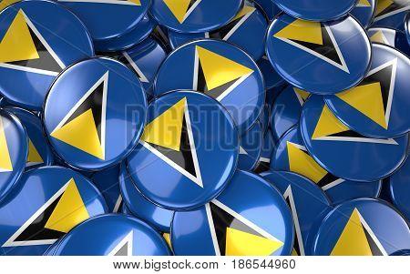 Saint Lucia Badges Background - Pile Of Saint Lucian Flag Buttons.
