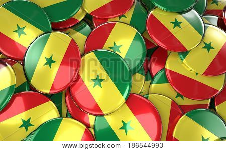 Senegal Badges Background - Pile Of Senegalese Flag Buttons.