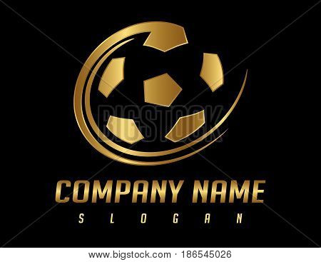 golden ball logo on a black background