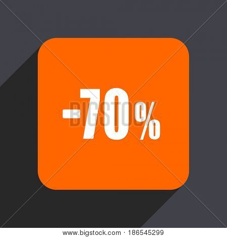 70 percent sale retail orange flat design web icon isolated on gray background
