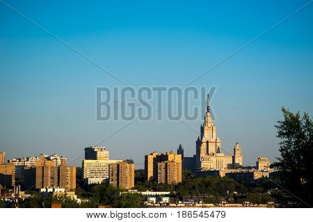 Moscow views of Moscow state University, sun day