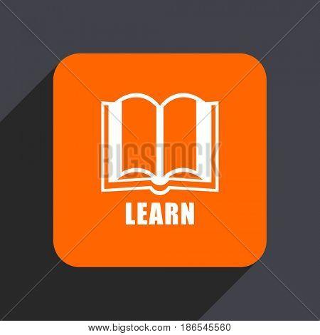 Learn orange flat design web icon isolated on gray background