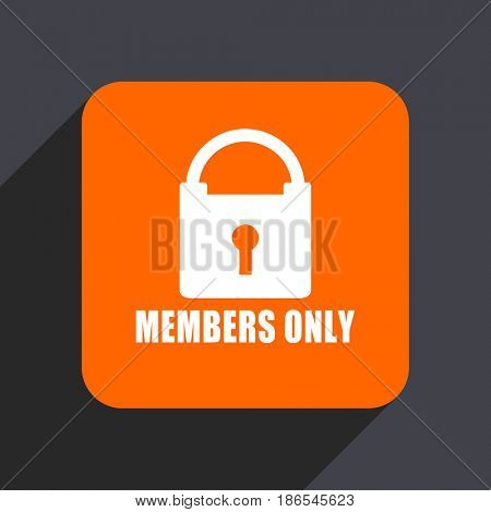 Members only orange flat design web icon isolated on gray background