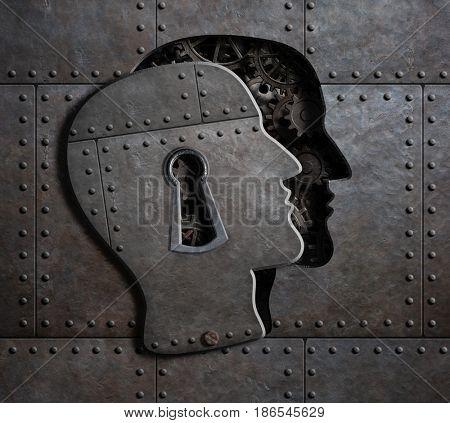 Open brain door with metal gears and cogs 3d illustration